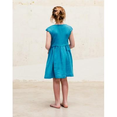 Vestido Meguro Azul Petroleo Espalda