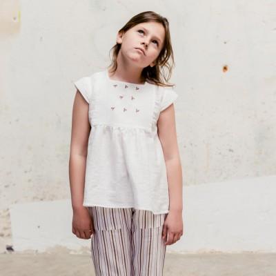 blusa sumida bordada blanco teja