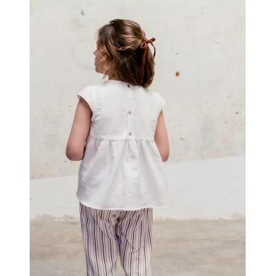 Blusa sumida bordada blanco teja espalda