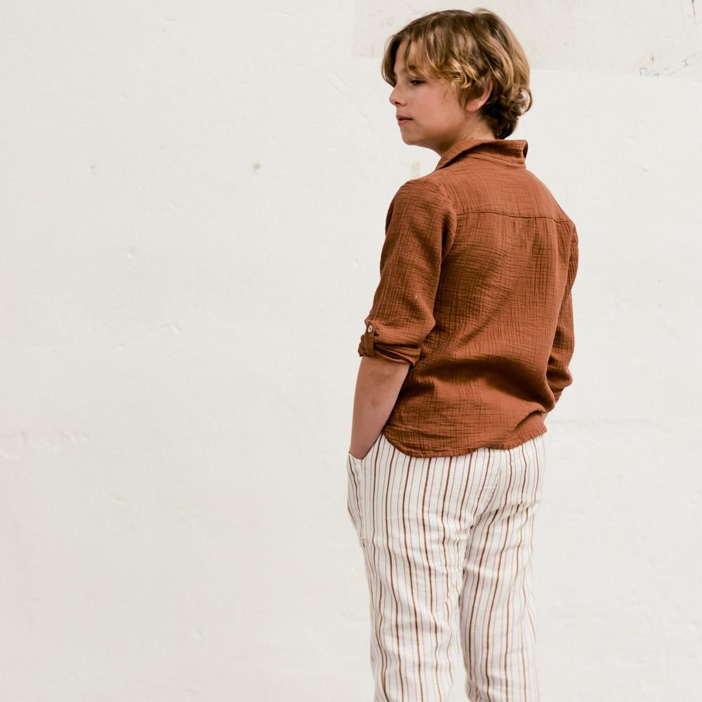 Pantalón Natori niño y niña rayas marrón