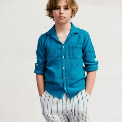 camisa byb clasica azul niño y niña