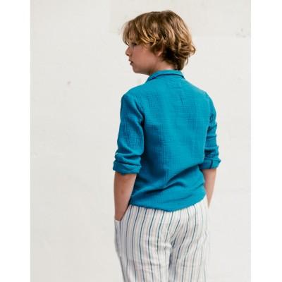 camisa byb nino y niña clasica azul