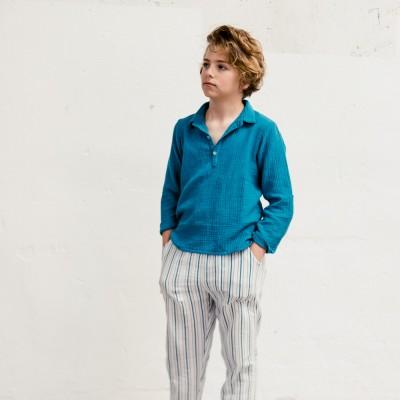 pantalón Natori rayas azul niño y niña