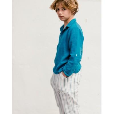 Pantalón Natori rayas azul detalle niño y niña
