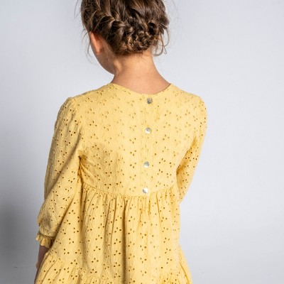 vestido mostaza niña holly encaja inglés