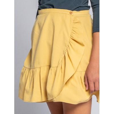 falda wood mostaza detalle niña