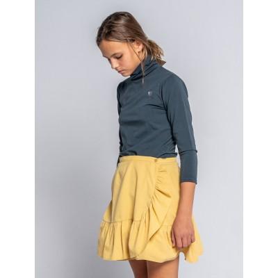 falda wood mostaza volante pana niña