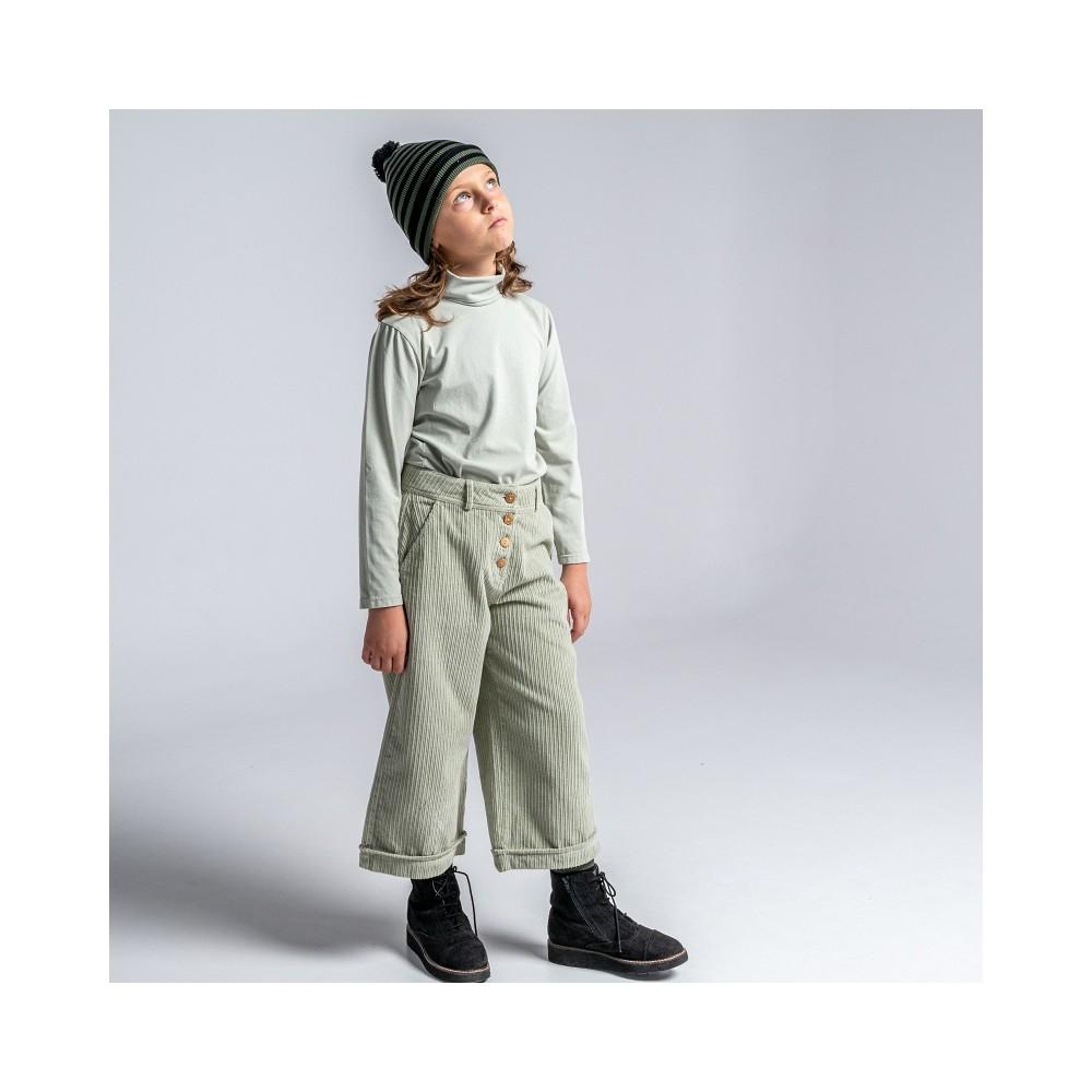 pantalon ranch verde niña pana botones madera