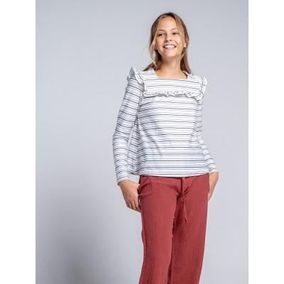 camiseta niña mayor manga larga rayas milk