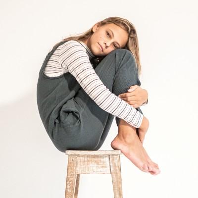 camiseta algodon rayas cuello vuelto niña river