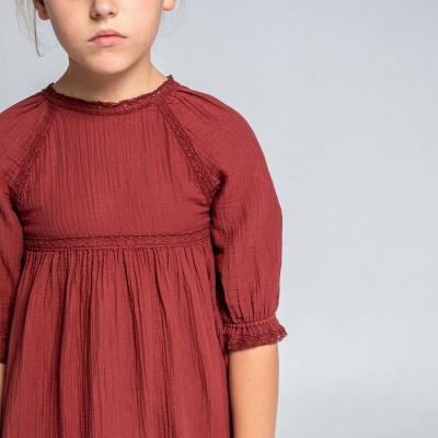 vestido teja bolillos romántico niña september largo