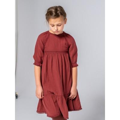 vestido romántico niña largo bolillos teja
