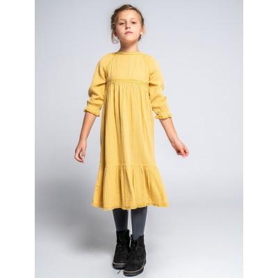 vestido largo niña puntillas mostaza