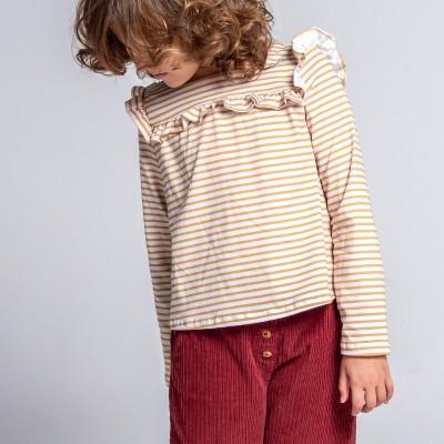 camiseta rayitas mostaza volante niña milk