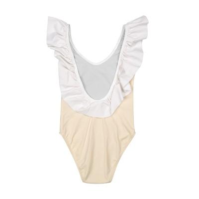 traje de baño bañador niña volante liso blanco vainilla beige