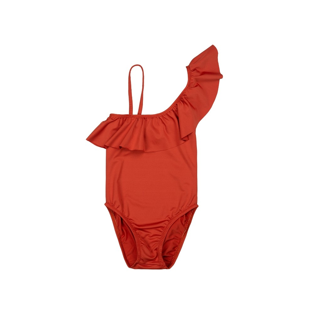 traje de  baño bañador niña asimétrico caldera teja