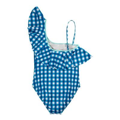 traje de baño Iris cuadros Vichy azul volante asimetrico niña