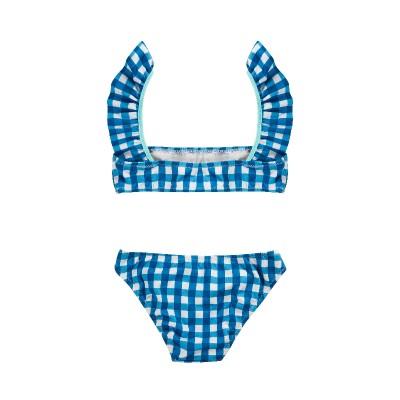Bikini Rose cuadro vichy azul niña teen volante tenderine espalda