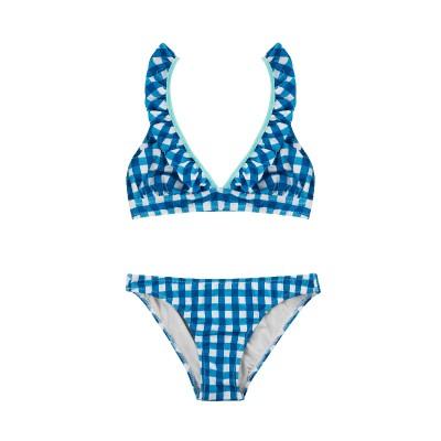 Bikini vichy azul teen mama volante