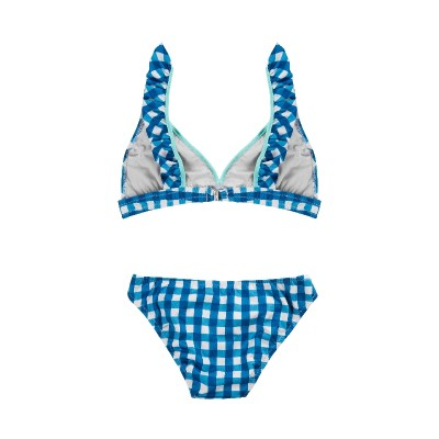 Bikini vichy azul teen mama volante espalda