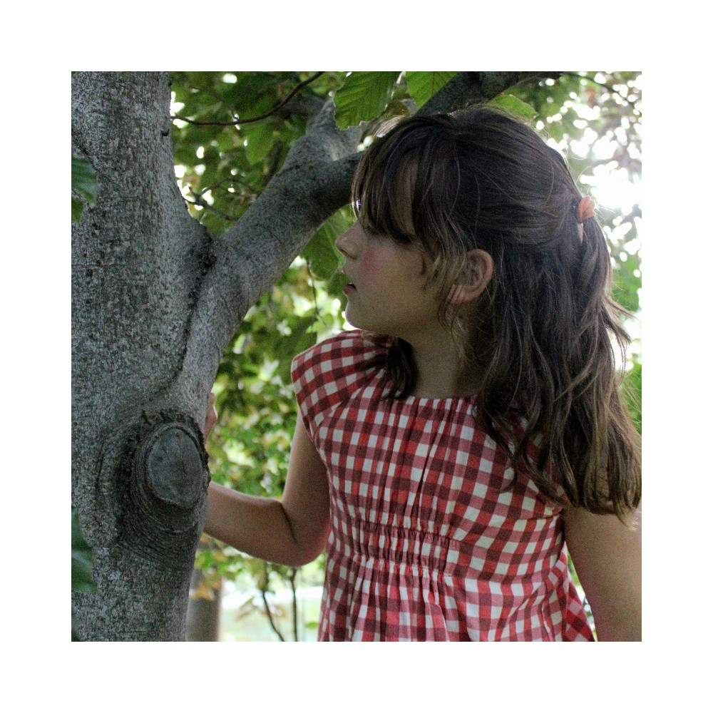 vestido niña vichy fresa corto