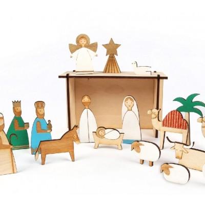 calendario de adviento nacimiento madera