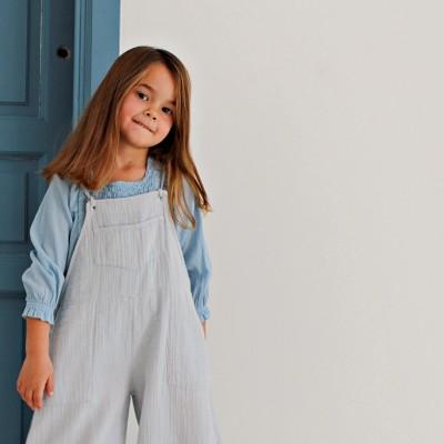 Blusa niña ideal azul manga francesa