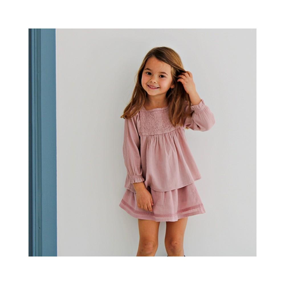 Falda y blusa rosa algodón bambula