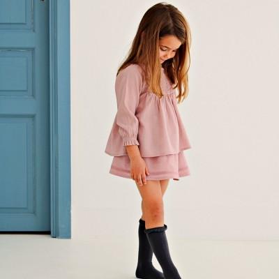 falda y blusa rosa bambula algodon niña tenderine