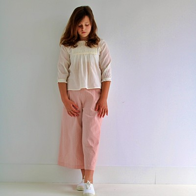 pantalón niña vichy Tenderine rosa arena