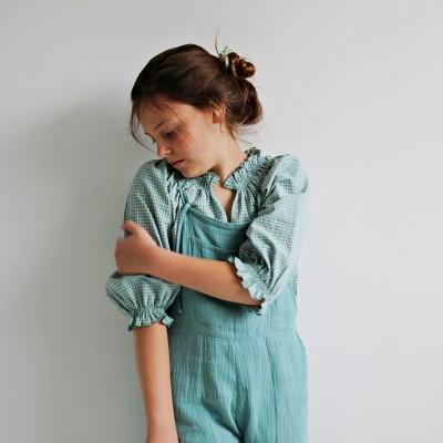 blusa vichy aguamarina niña