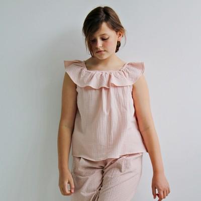 blusa April niña volante rosa