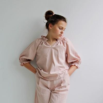 Blusa vichy rosa niña