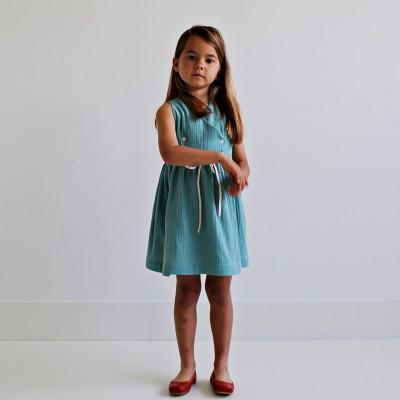vestido niña turquesa cruzado