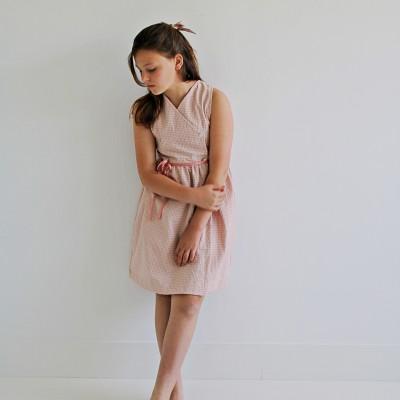 Vestido niña vichy rosa