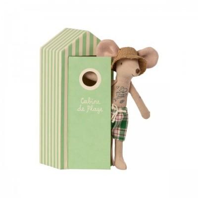 Papá ratón con caseta de playa tatuado bañador verano