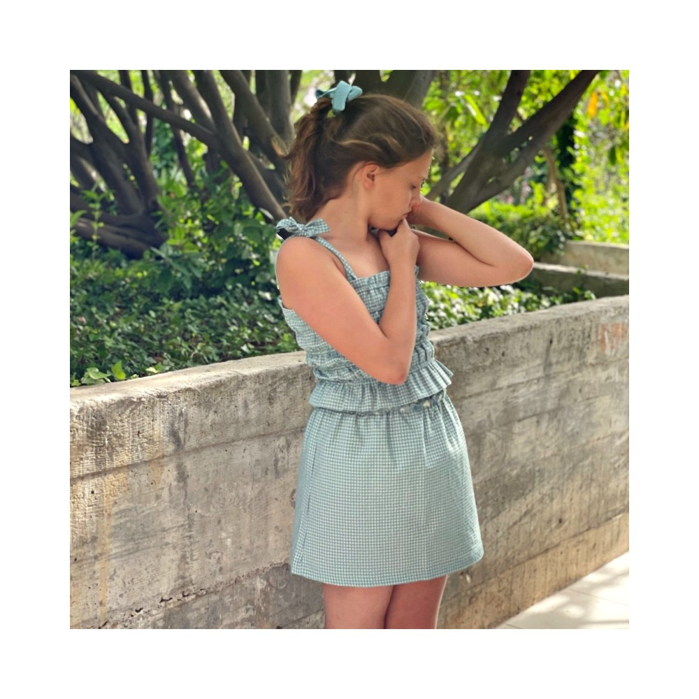 falda vichy  niña verde turquesa corta mona