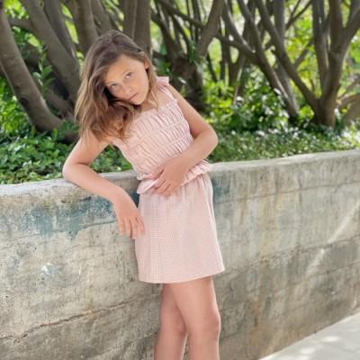 falda vichy rosa niña corta