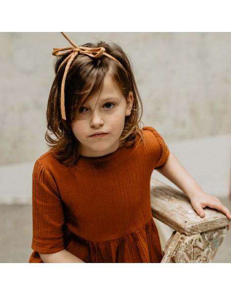Vestido de niña en bambula de algodon Nuez
